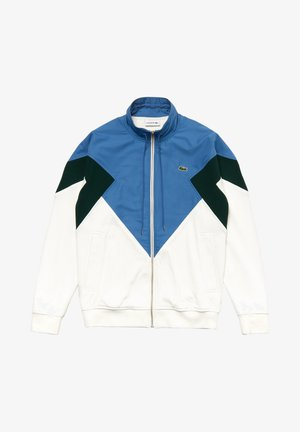 Zip-up hoodie - white/green/blue