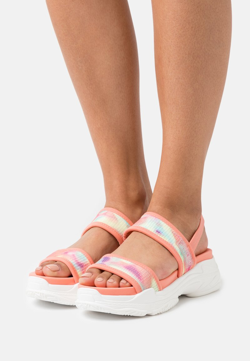 Steve Madden - SAMURAI - Platform sandals - coral/multicolor