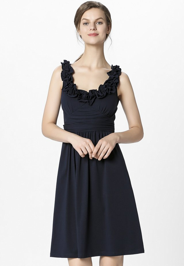 DRESS WITH VOLANTS - Cocktailklänning - midnightblue
