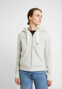 Abercrombie & Fitch - LINED LOGO FULL ZIP - Zip-up hoodie - grey - 0