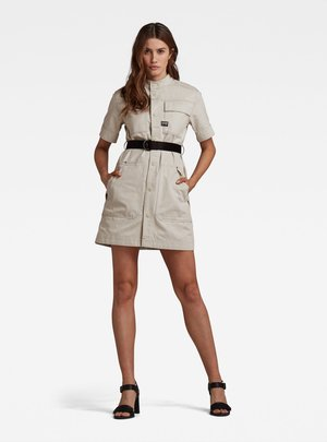 SHIRT DRESS SHORT SLEEVE - Denim dress - ecru