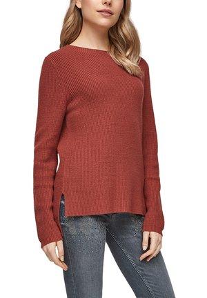 MIT RIPPSTRUKTUR - Jumper - rust red knit