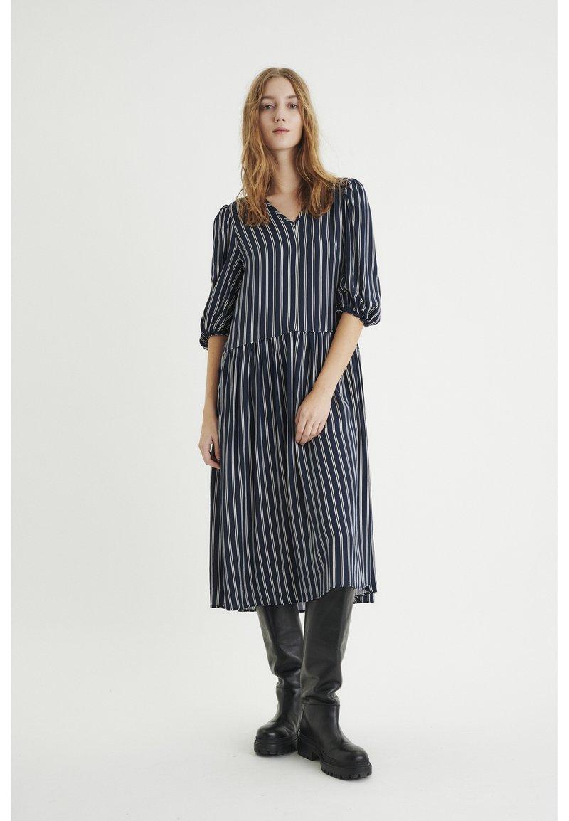 InWear - VIKSA LONG DRESS - Day dress - marine blue stripe
