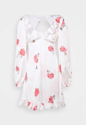 FLORAL FRILL DETAIL SWING DRESS - Cocktail dress / Party dress - white