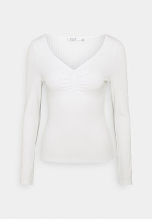 FRONT RUCHED - Long sleeved top - white