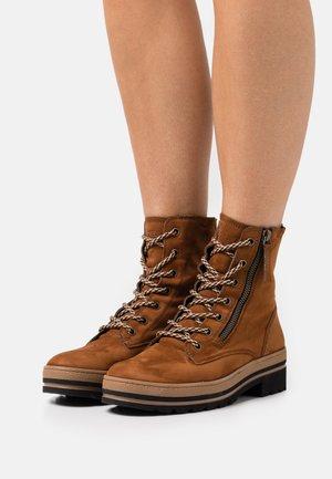 Lace-up ankle boots - royal cognac
