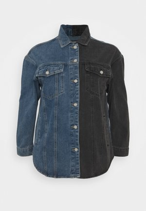 SPLICED CURVED HEM JACKET - Denim jacket - blue