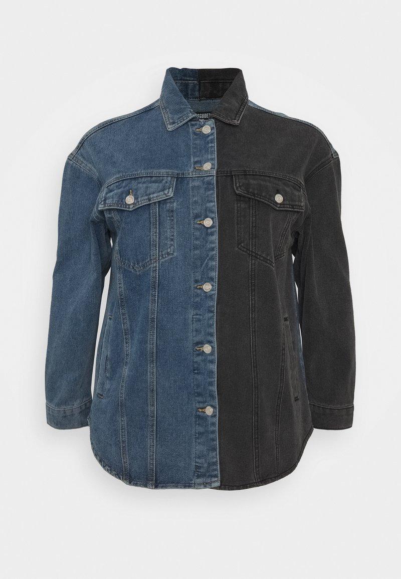 Missguided Plus - SPLICED CURVED HEM JACKET - Denim jacket - blue