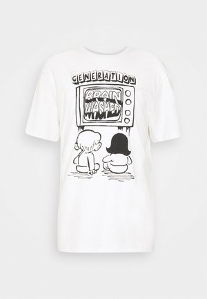 BRAINWASHED UNISEX - Print T-shirt - white