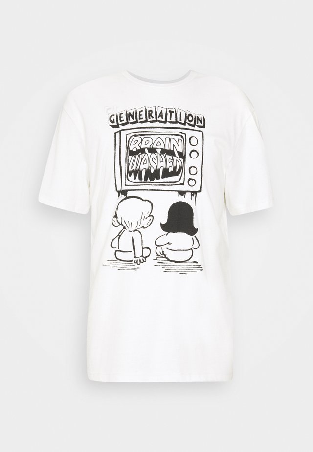 BRAINWASHED UNISEX - T-shirt print - white