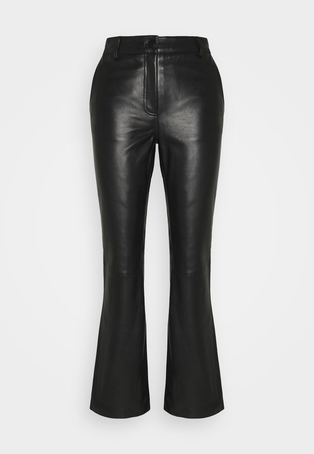 AMBER  - Leather trousers - black