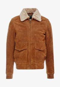Scotch & Soda - PILOT JACKET WITH TEDDY COLLAR - Leather jacket - coffee - 4