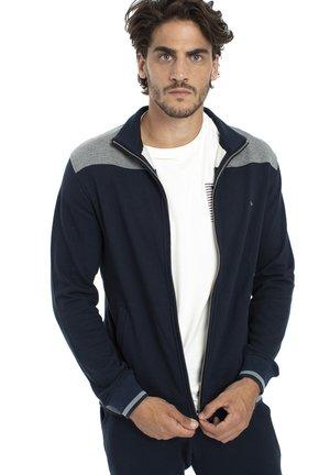 FELPA MISTIO COTONE CON CONTRASTI COLORE - Zip-up sweatshirt - blu scuro