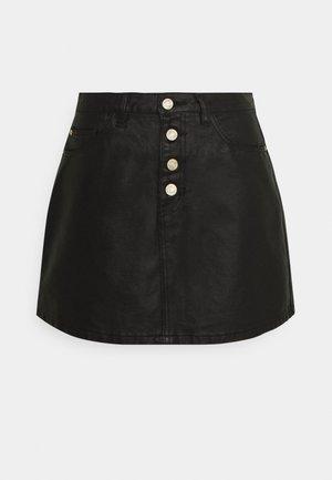 BUTTON FLY COATED SKIRT - Minifalda - black