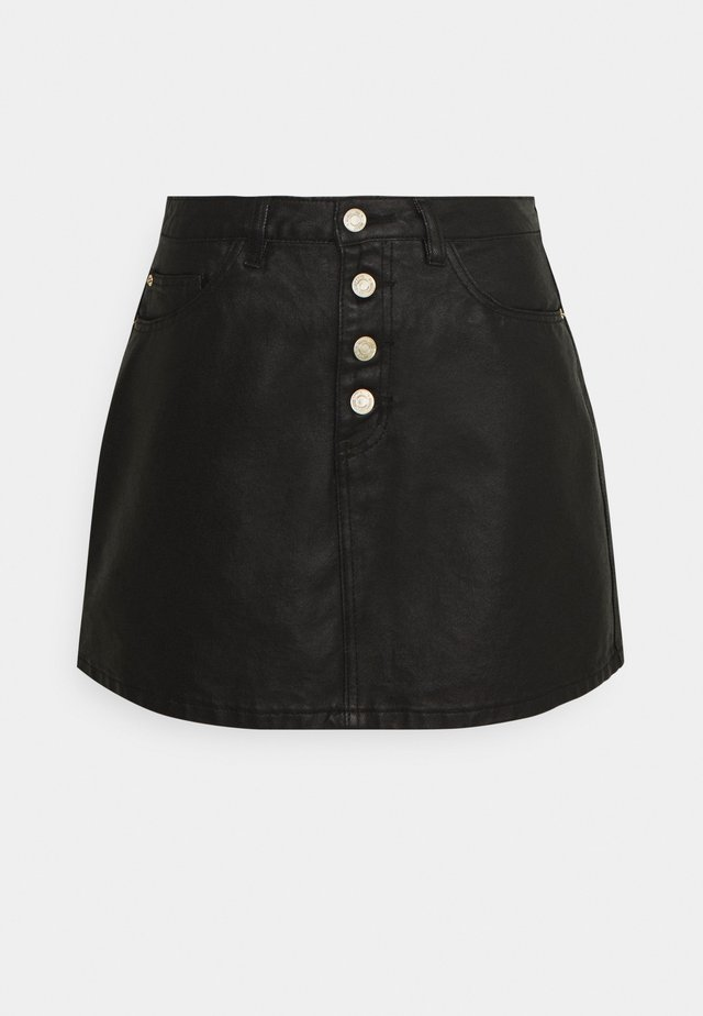 BUTTON FLY COATED SKIRT - Minifalda - black
