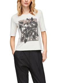 s.Oliver BLACK LABEL - MIT PAILLETTEN - Print T-shirt - off-white - 0