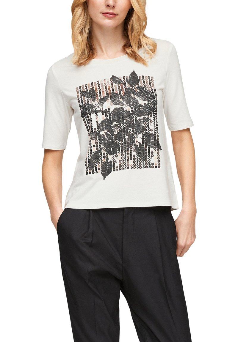 s.Oliver BLACK LABEL - MIT PAILLETTEN - Print T-shirt - off-white