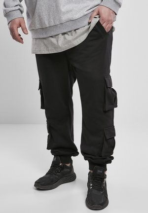 DOUBLE POCKET TERRY - Cargo trousers - black