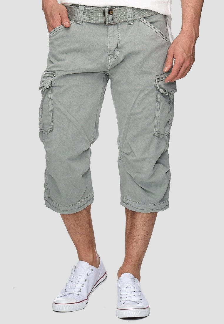INDICODE JEANS - MIT GÜRTEL NICOLAS - Shorts - light grey