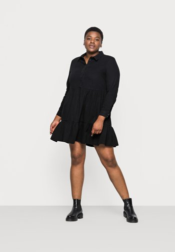VMMARIA FRILL SHORT DRESS - Denim dress - black