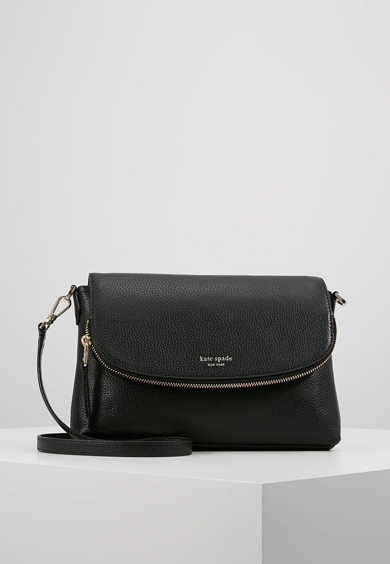 kate spade new york - POLLY LARGE FLAP CROSSBODY - Across body bag - black