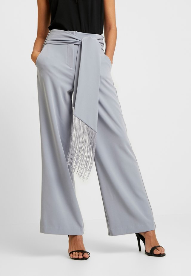 TASSEL BELTED WIDE LEG TROUSER - Pantalon classique - grey