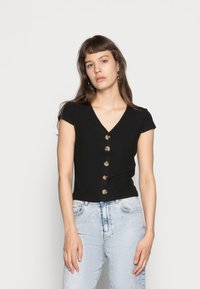 ONLY - ONLNELLA BUTTON - T-shirt con stampa - black - 0
