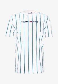 Tommy Jeans - VERTICAL STRIPE LOGO TEE - Print T-shirt - white/audacious blue - 0