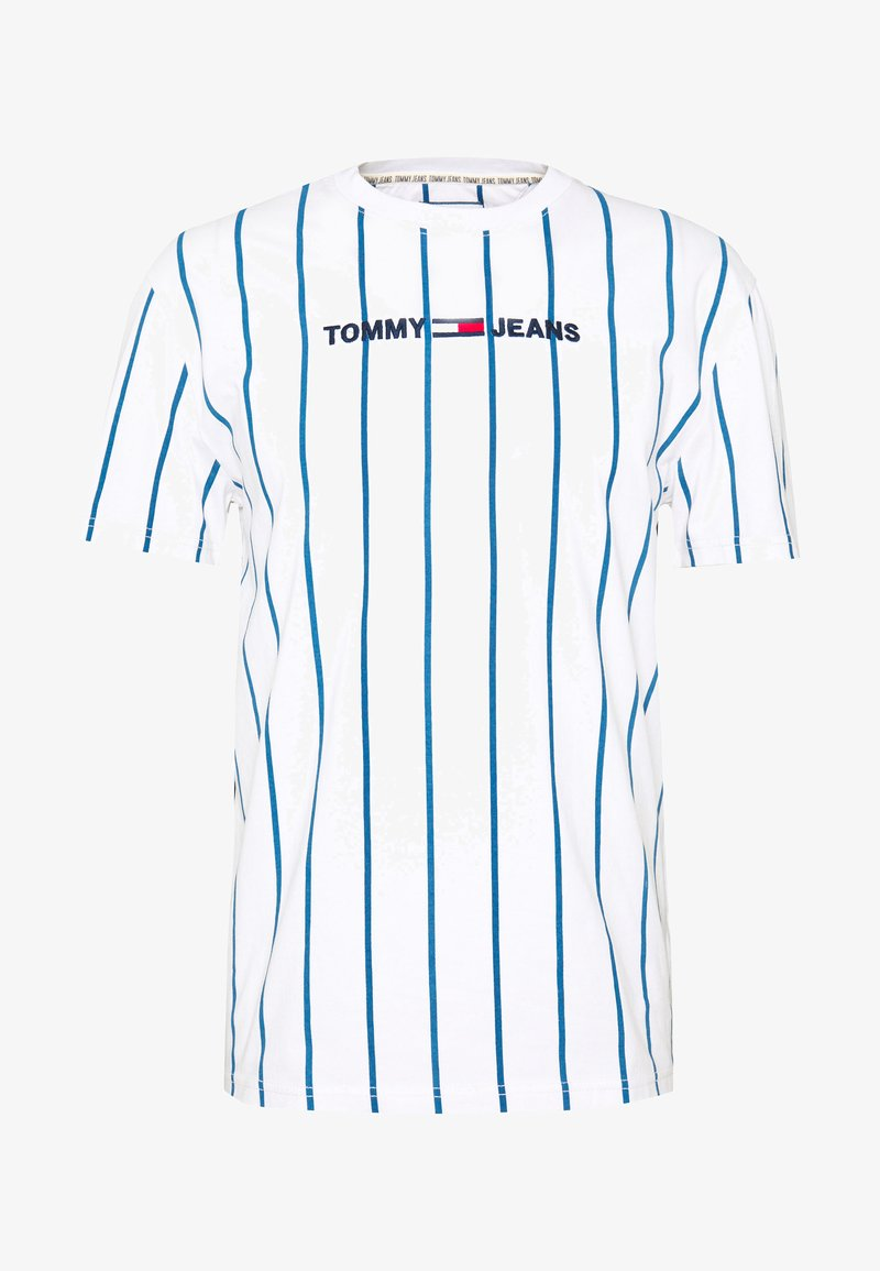 Tommy Jeans - VERTICAL STRIPE LOGO TEE - Print T-shirt - white/audacious blue