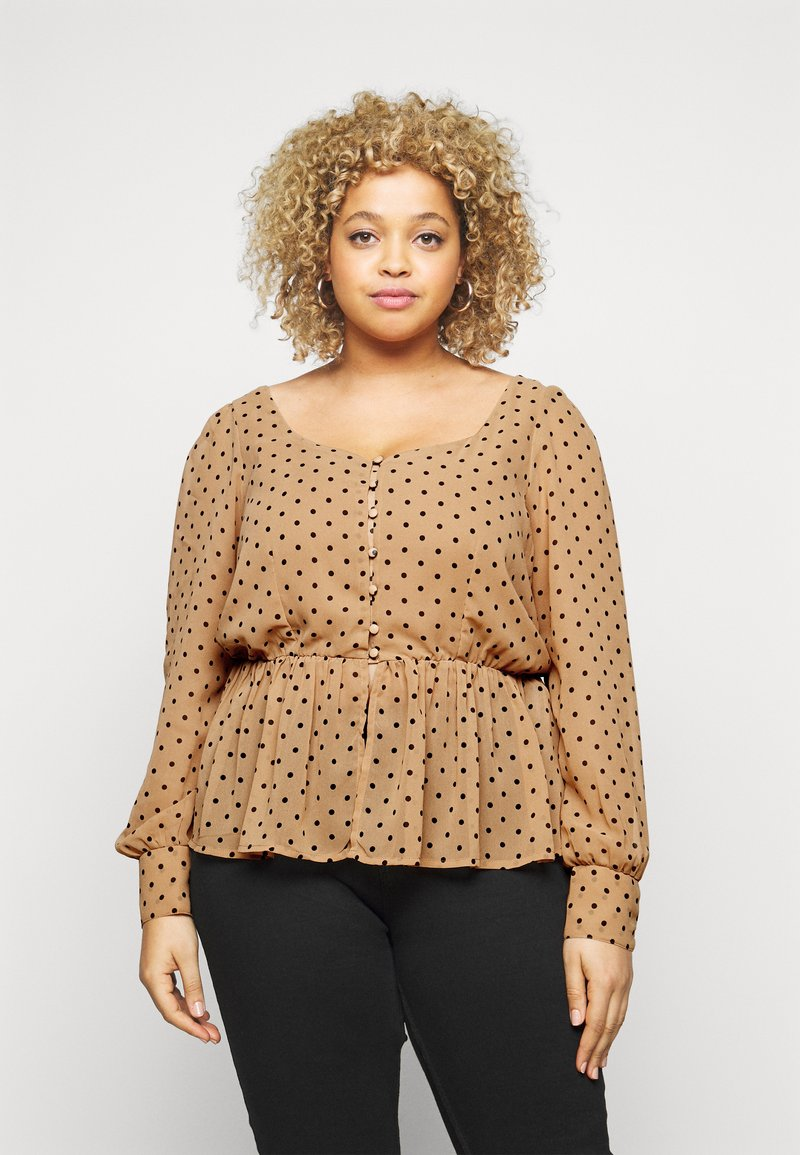 Vero Moda Curve - VMBABUSCHE BLOUSE - Blouse - black/tobacco brown dot