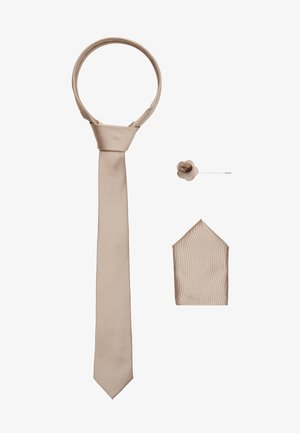 WEDDING PLAIN WITH MATCHING FLOWER PIN SET - Tie - neutral