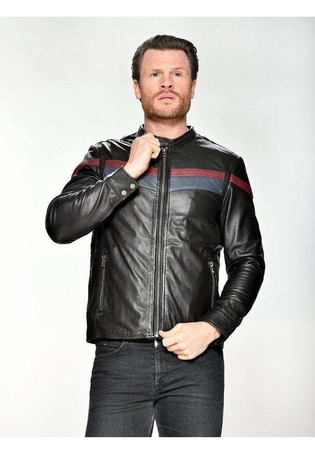 RETRO-STREIFEN VAIL - Leren jas - black