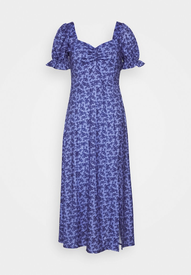 Lost Ink Petite - RUCHED BUST DETAIL DITSY MIDI DRESS - Jerseykjoler - blue