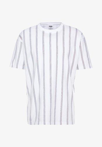 HEAVY OVERSIZED STRIPE TEE - T-shirt med print - white/navy
