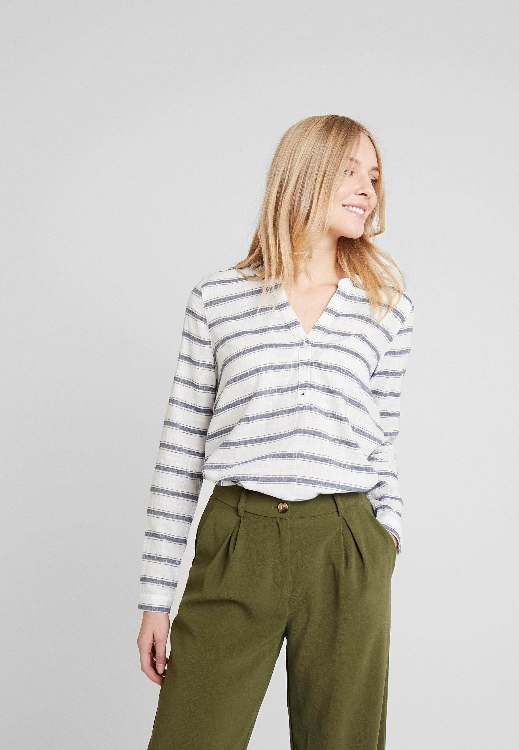 TOM TAILOR DENIM STRIPED HENLEY BLOUSE - Bluser - white/green