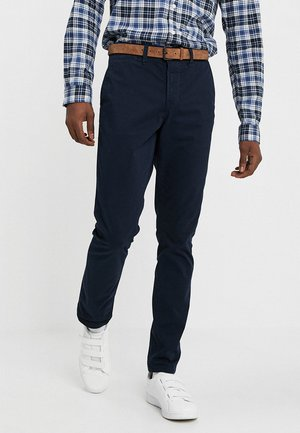 SLIM CHINO WITH BELT - Chinos - sky captain blue