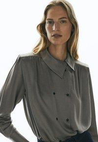 Massimo Dutti - Button-down blouse - silver - 3