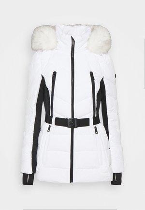 COLOR BLOCKED BELTED PUFFER COAT - Winterjas - white/black
