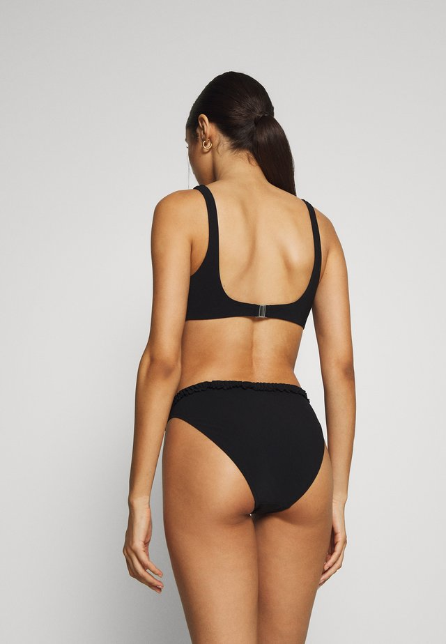 FRILL HIGH CUT BRIEF - Bikini bottoms - black