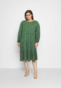 Even&Odd Curvy - Day dress - green/white - 1