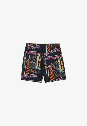 MIT BUNTEM SLOGANPRINT - Teplákové kalhoty - black