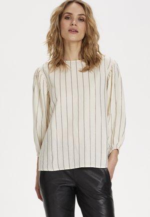 KABARBETTE - Blouse - chalk -grey/gold stripes