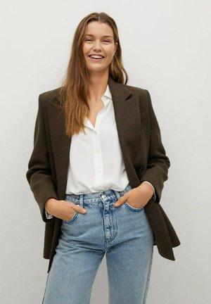 BASIC - Button-down blouse - bianco sporco