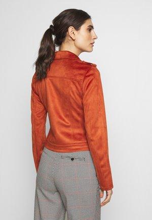 Faux leather jacket - fox orange