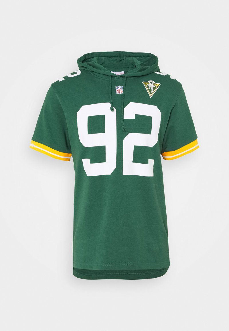 Mitchell & Ness - GREEN BAY PACKERS REGGIE HOODED SHORT SLEEVE - Article de supporter - green/white