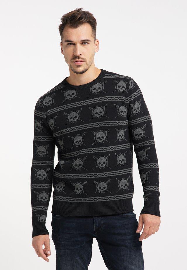Sweter - schwarz dunkelgrau melange