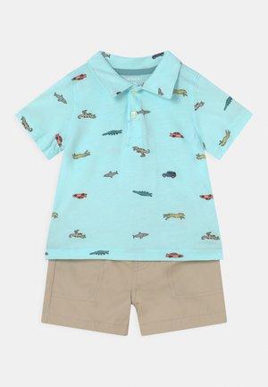 2-Piece Jersey Polo & Short Set - Shorts - light blue/beige