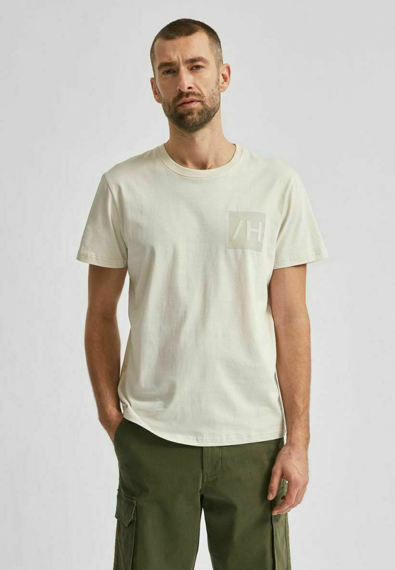 Selected Homme - Print T-shirt - egret