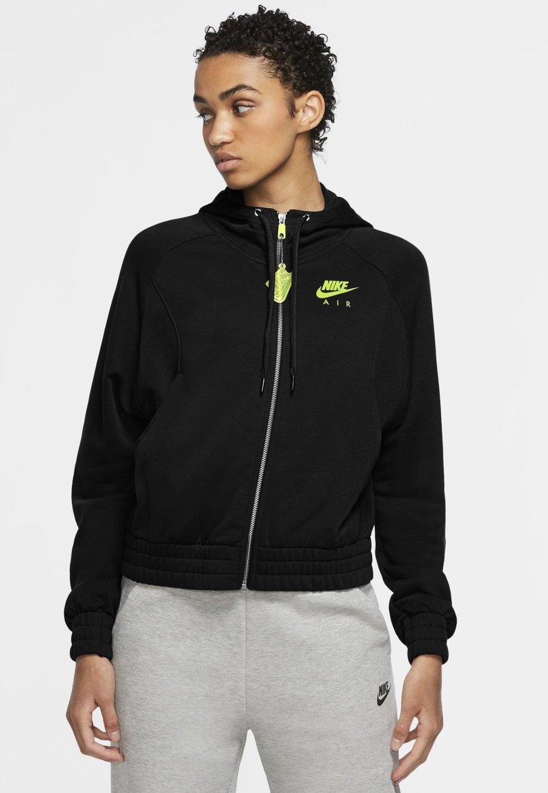 Nike Sportswear - Zip-up hoodie - black/volt