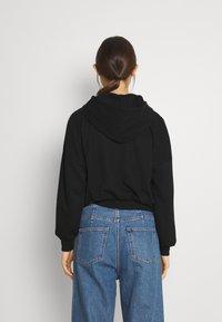 Even&Odd - Ribbed zip though hooded sweat jacket - Tröja med dragkedja - black - 2